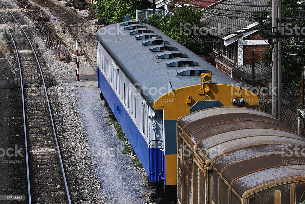 Yellow train engine and rail track royalty-free stock photo