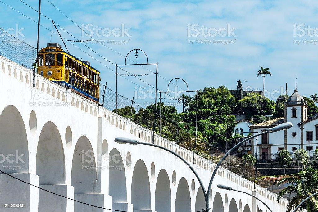 Yellow Train in Rio de Janeiro, Brazil stock photo