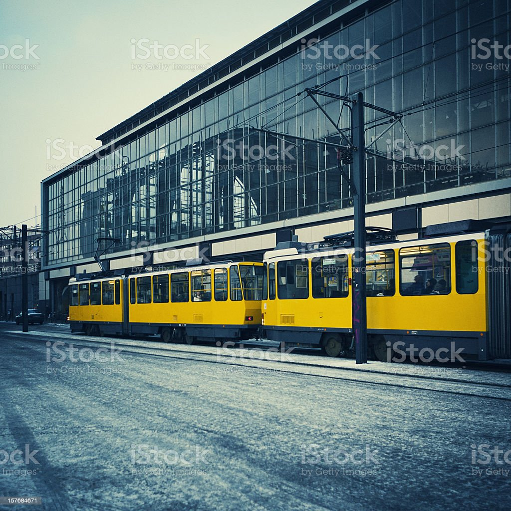 yellow tram in berlin royalty-free stock photo