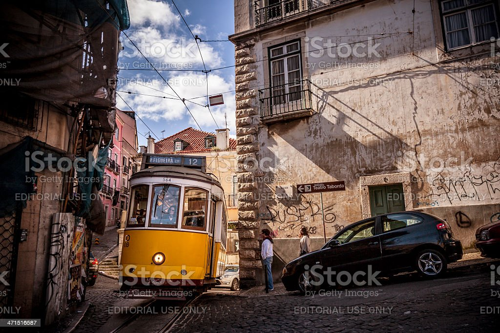 Yellow tram in Lisbon royalty-free stock photo