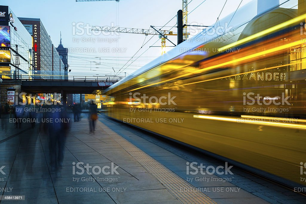 Yellow tram on the Alexanderplatz royalty-free stock photo