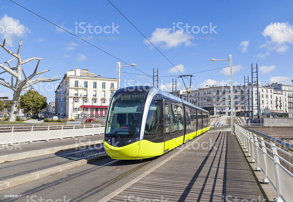 Yellow tram on the street of Brest, France stock photo