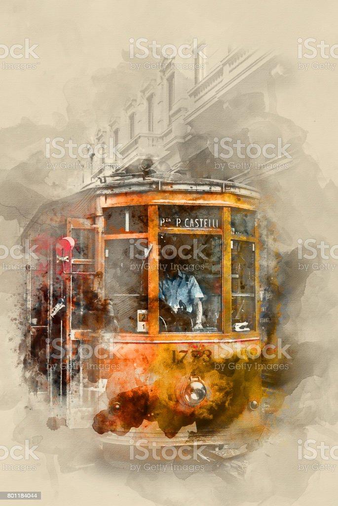 Yellow tram stock photo