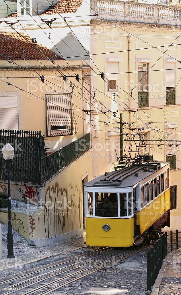 Yellow tram royalty-free stock photo