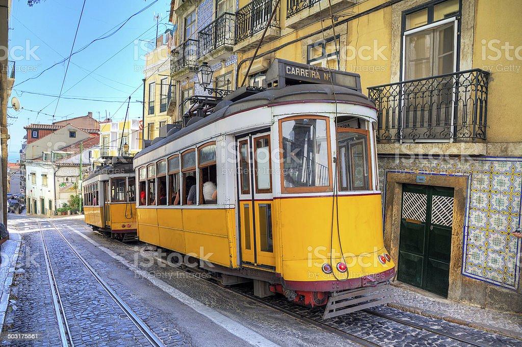 Yellow trams Lisbon stock photo