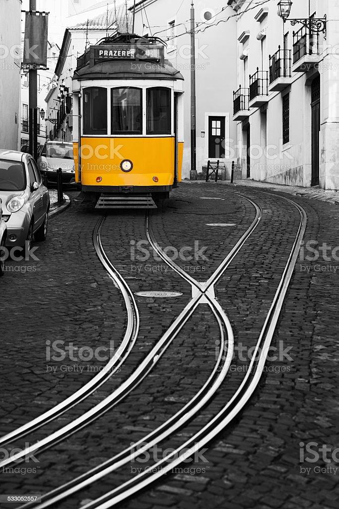 Yellow trams of Lisbon stock photo
