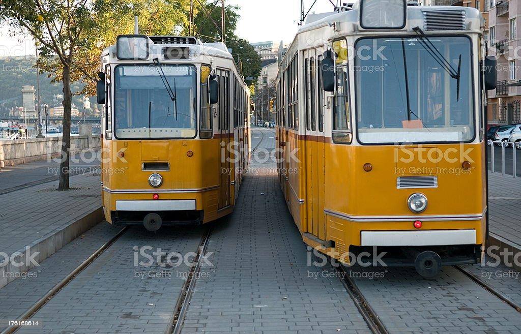 Yellow trams. royalty-free stock photo