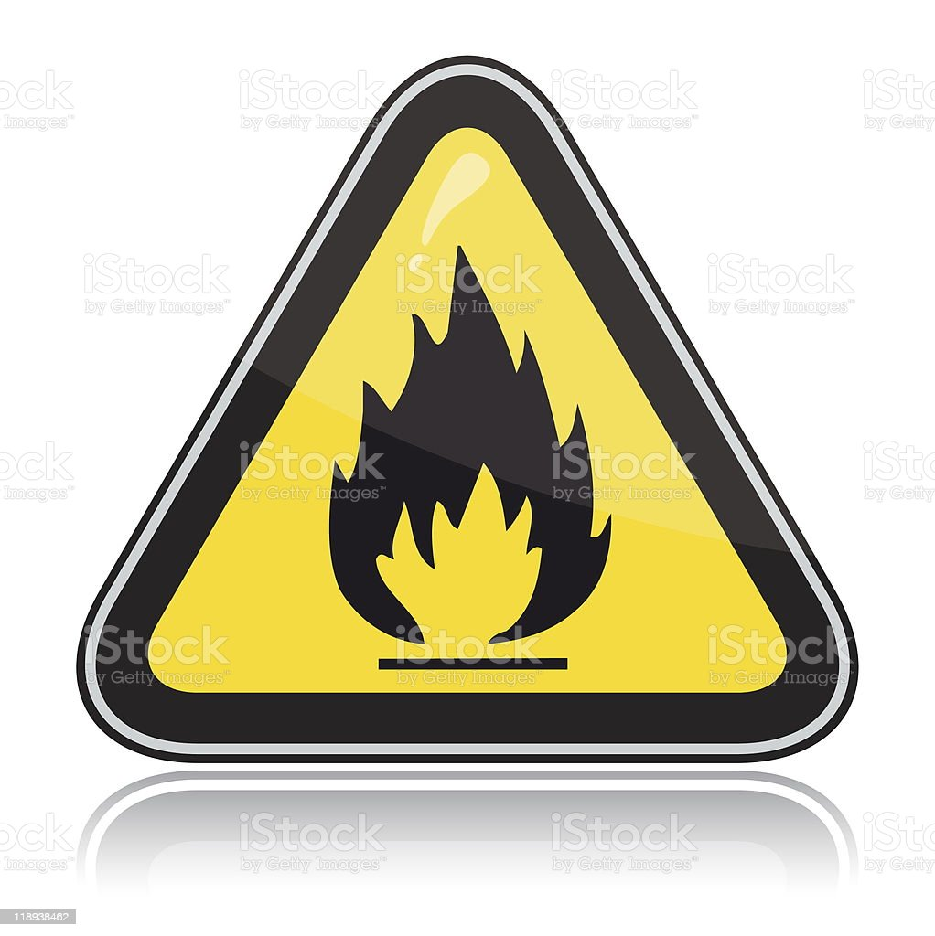 Yellow triangular warning sign. Attention flammable stock photo