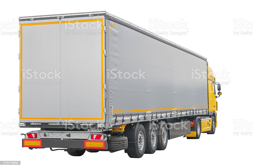 Yellow Truck Silver Trailer (isolated) stock photo