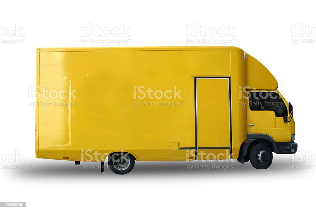 Yellow truck w clipping line royalty-free stock photo