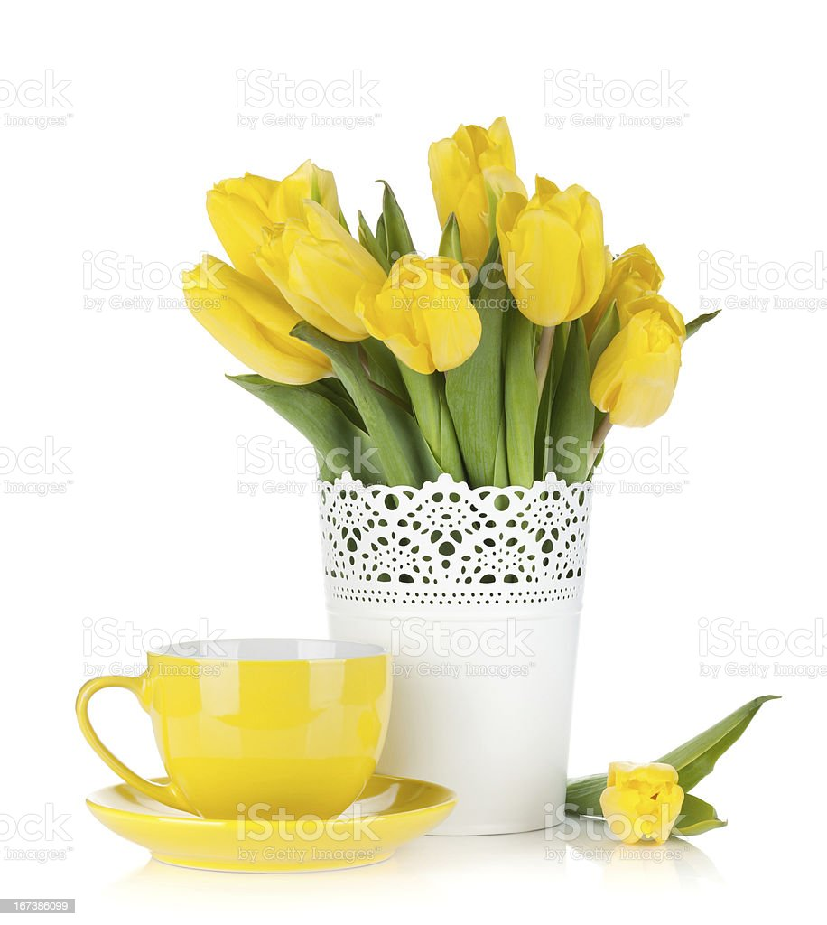 Yellow tulips and tea cup royalty-free stock photo