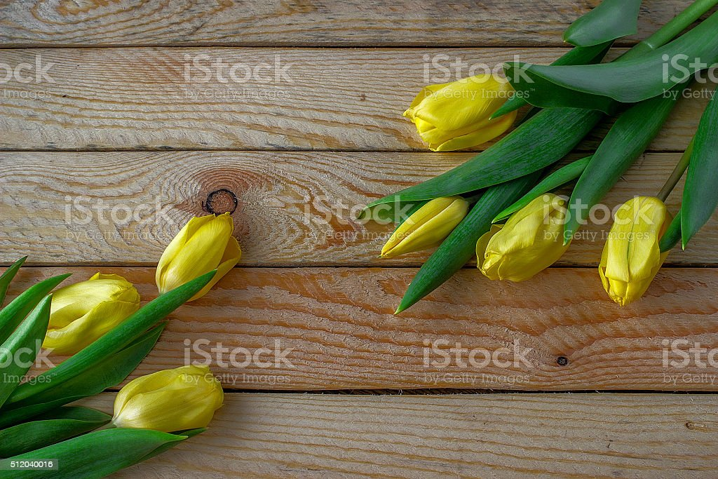 yellow tulips on a wooden table stock photo