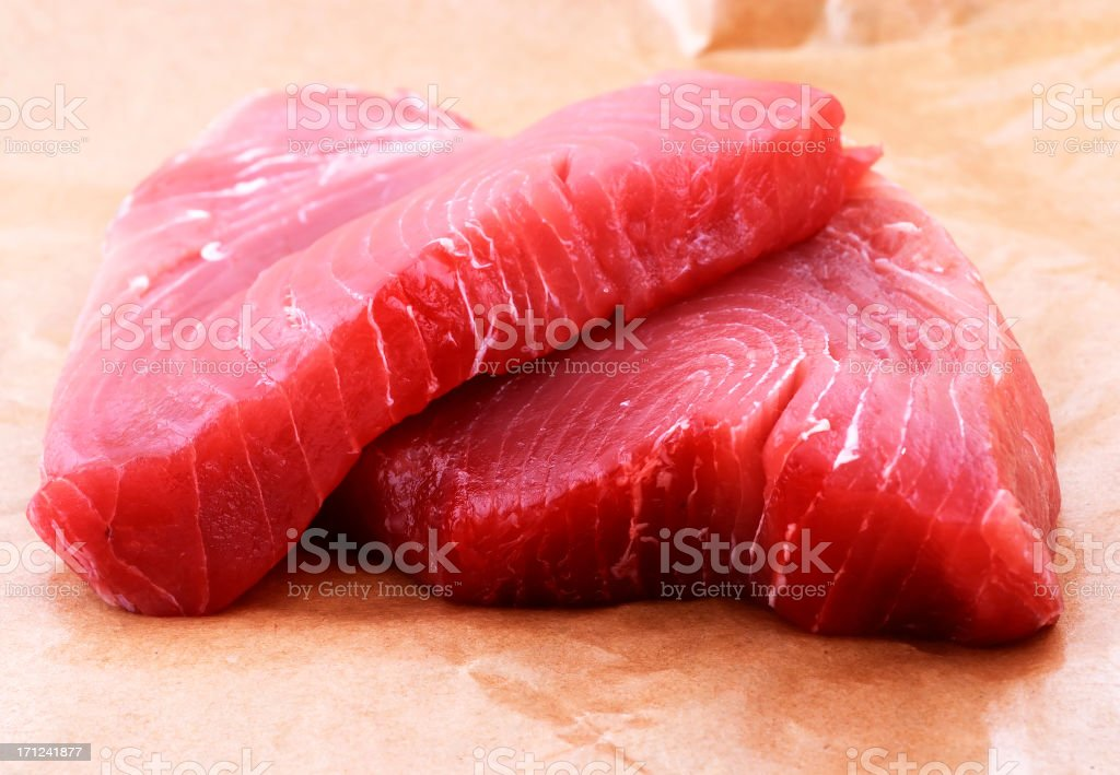 yellow tuna steak stock photo