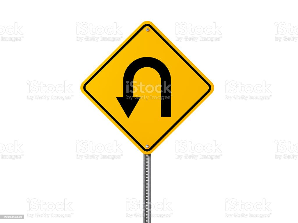 Yellow U Turn Sign Isolated On White Background stock photo