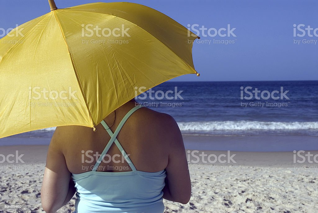 Yellow umbrella 1 royalty-free stock photo