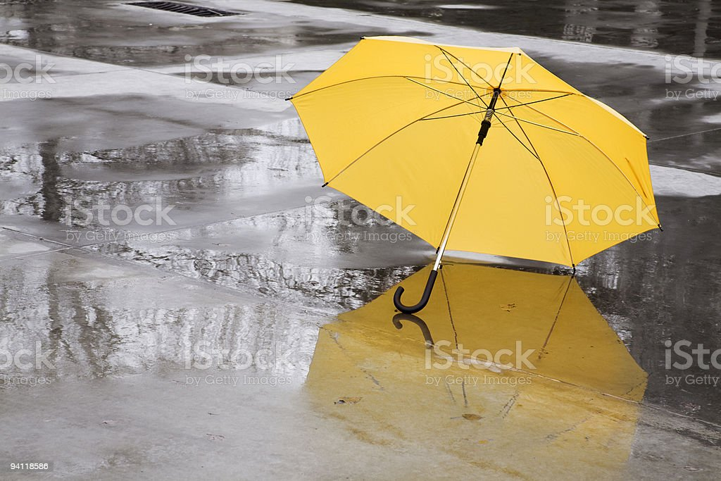 yellow umbrella stock photo