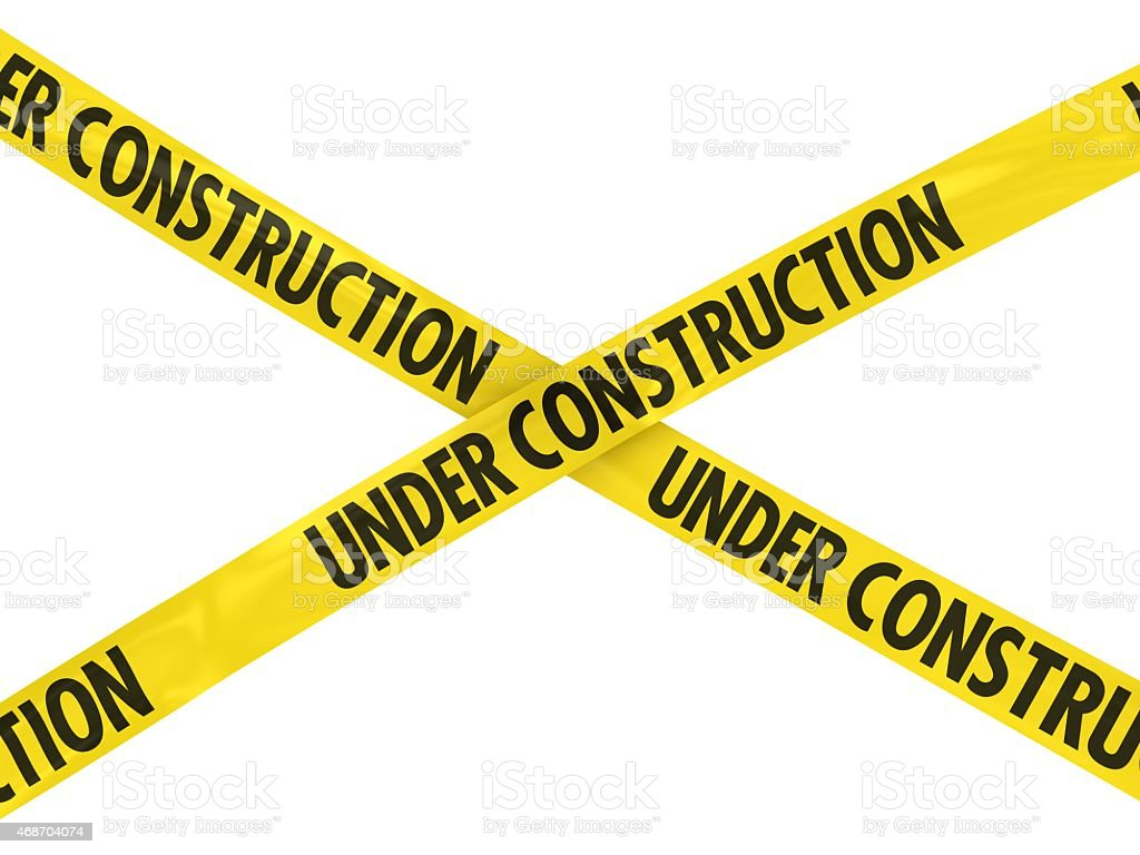 Yellow UNDER CONSTRUCTION Barrier Tape stock photo