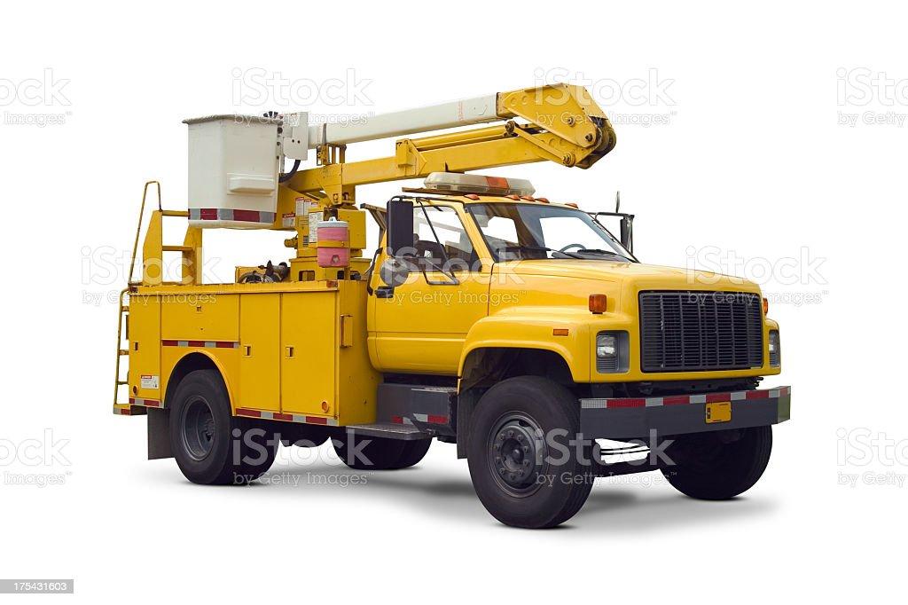 Yellow utility truck with cherry picker lift stock photo