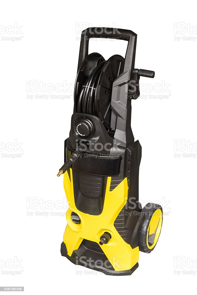 yellow vacuum cleaner isolated on white background stock photo