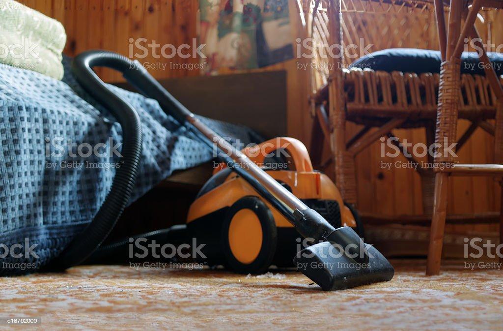 Yellow vacuum cleaner stock photo