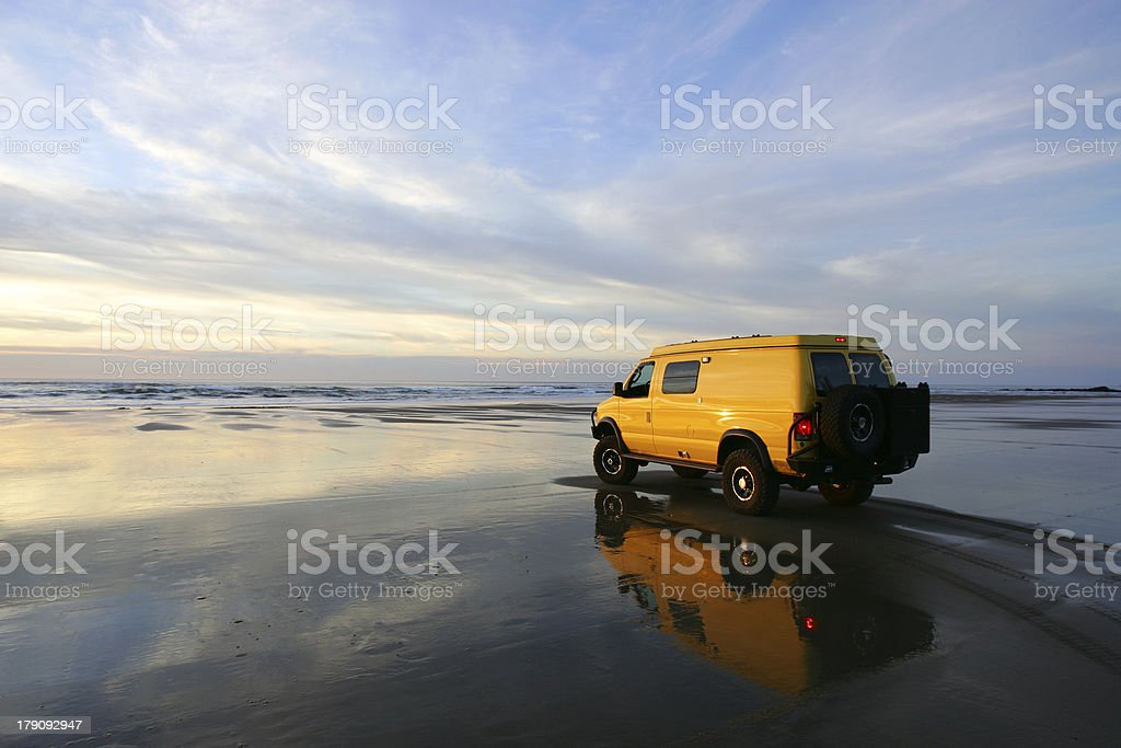 Yellow van stock photo