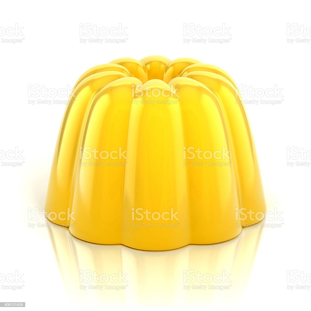 yellow vanilla jelly pudding stock photo