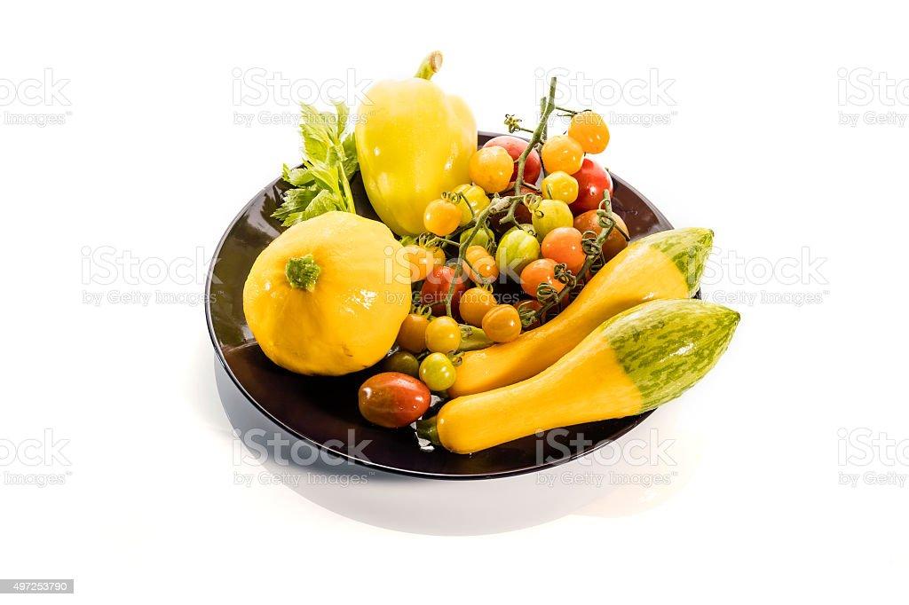 Gelbe Vielzahl vagetable auf weißem Hintergrund insgesamt Lizenzfreies stock-foto