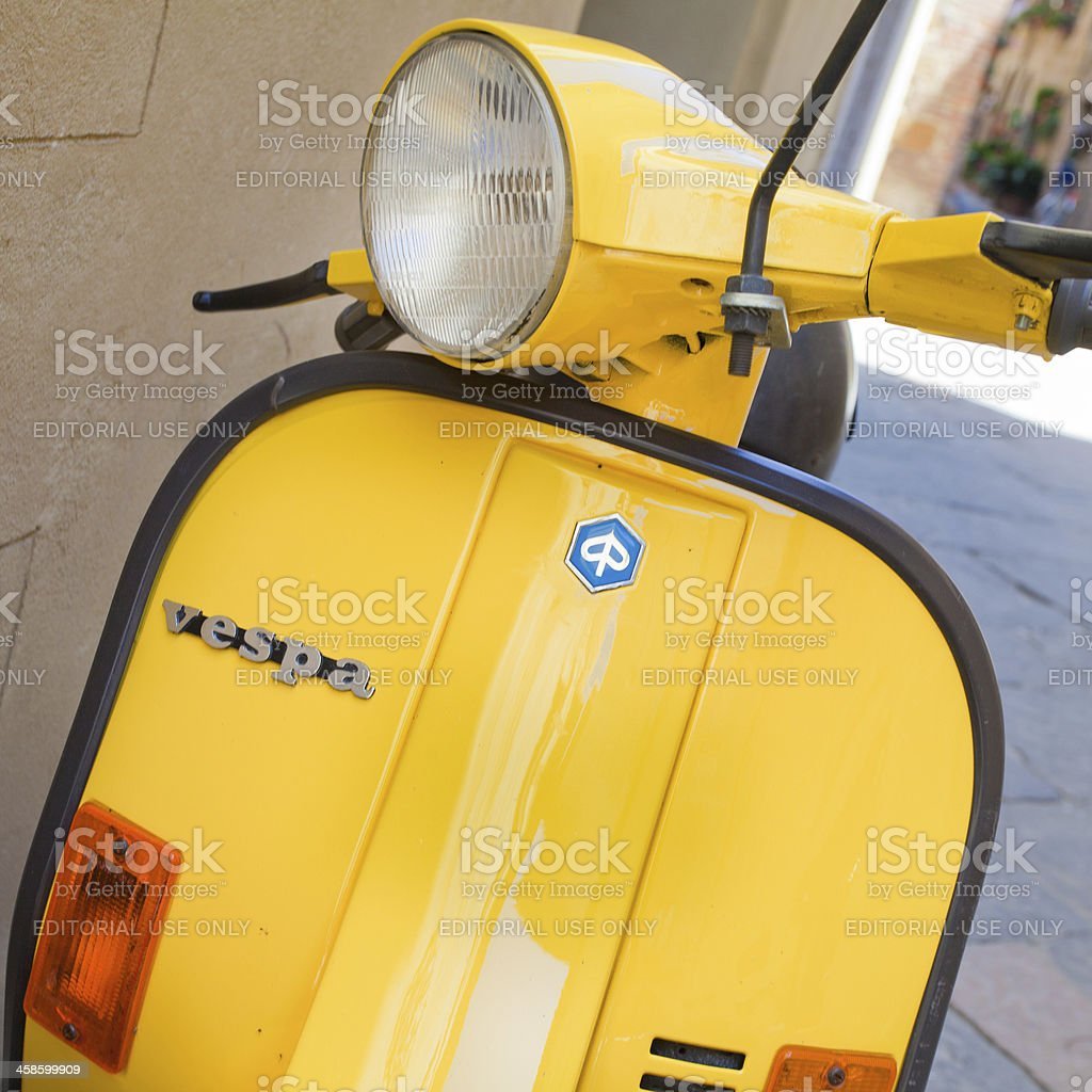 Yellow Vespa Scooter royalty-free stock photo