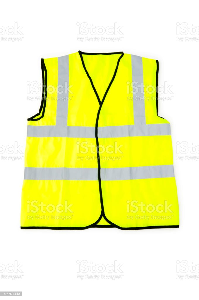 Yellow vest isolated on the white background stock photo