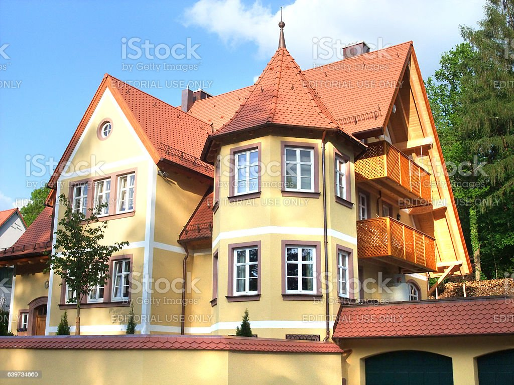 Yellow Villa in germany stock photo