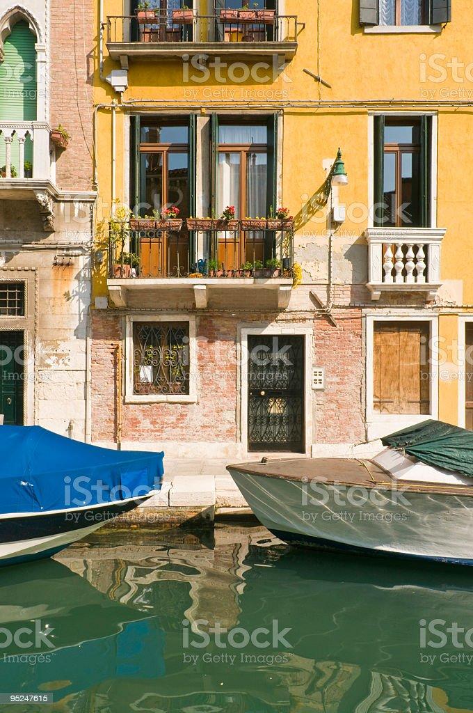 Yellow villa Venice stock photo