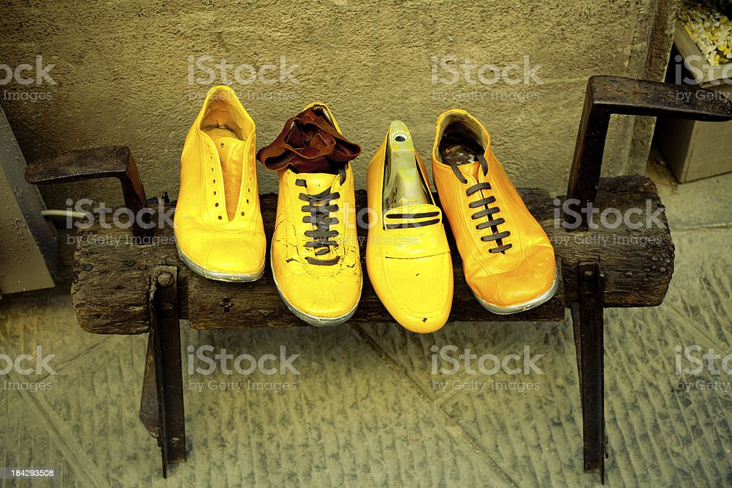 Yellow Vintage Shoes royalty-free stock photo