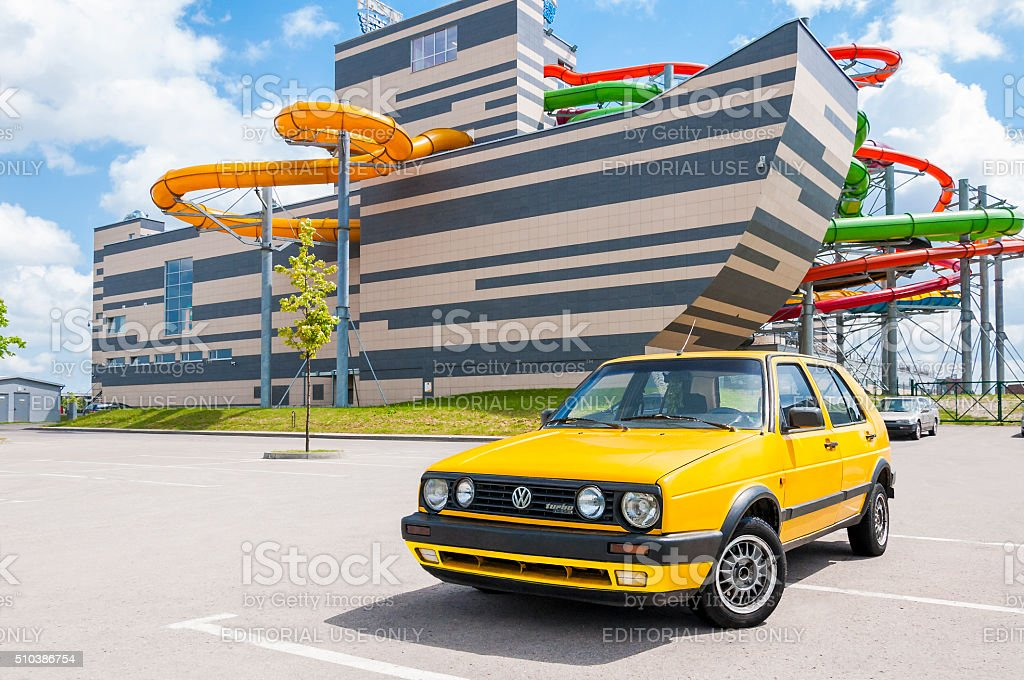 Yellow Volkswagen Golf Mk2 Turbo Diesel 1992 stock photo