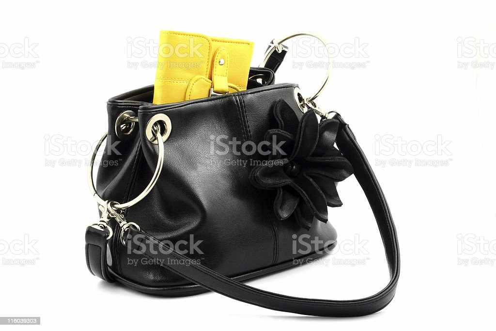 yellow wallet in bag royalty-free stock photo