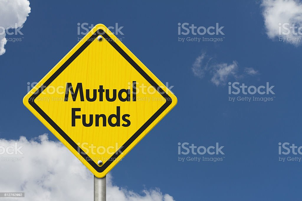 Yellow Warning Mutual Funds Highway Road Sign stock photo