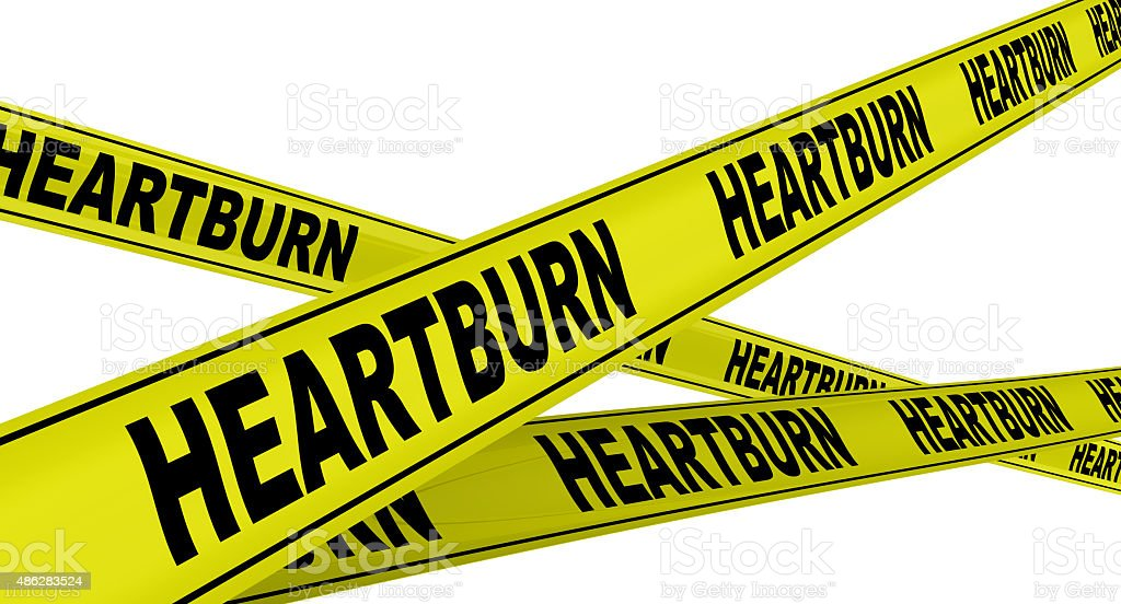 HEARTBURN. Yellow warning tapes stock photo