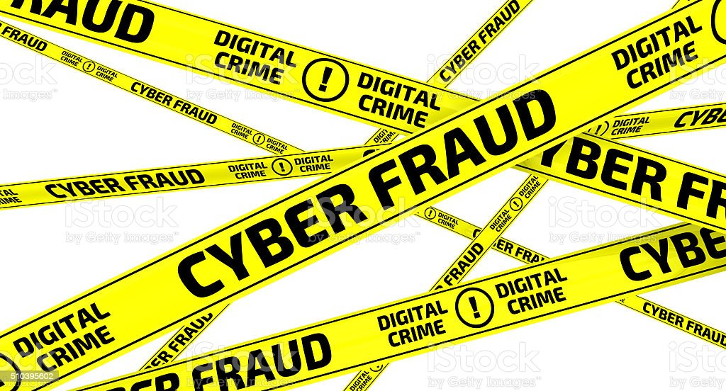 CYBER FRAUD. DIGITAL CRIME. Yellow warning tapes stock photo