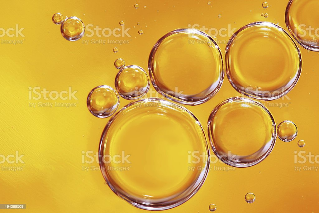 Yellow water bubbles abstract light illumination. stock photo