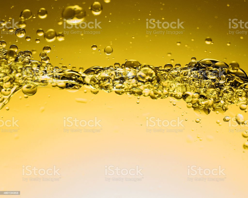 Yellow Water bubbles stock photo