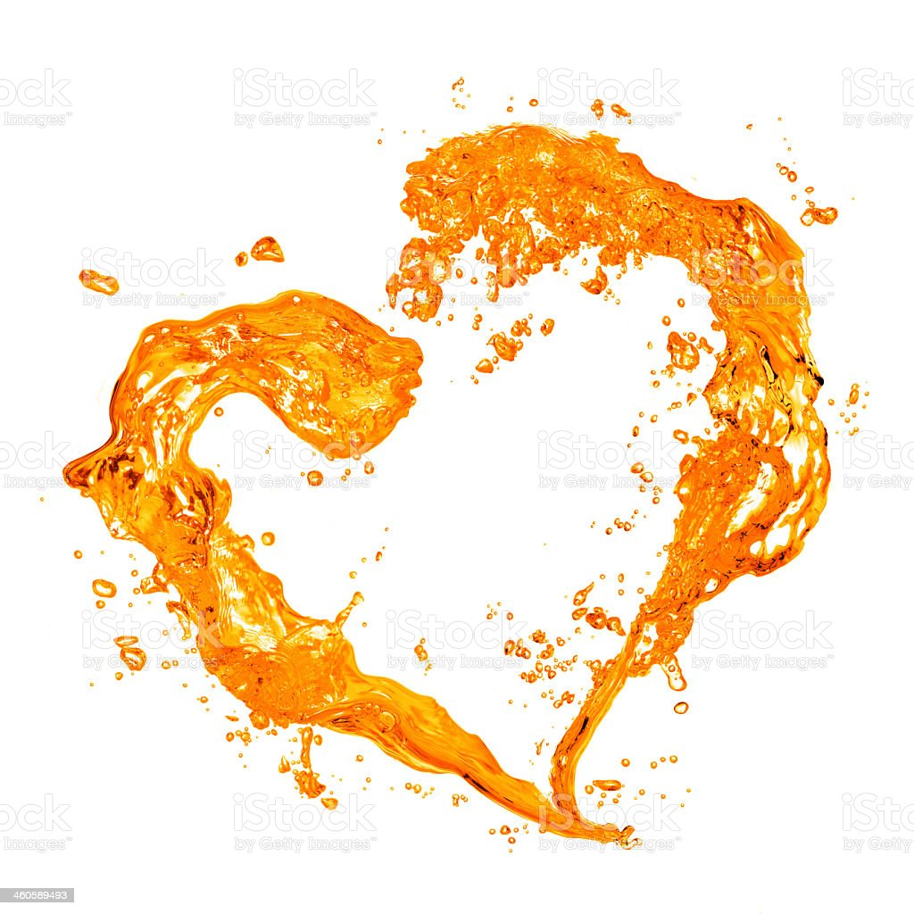 Yellow water splash and bubble heart on a white background stock photo