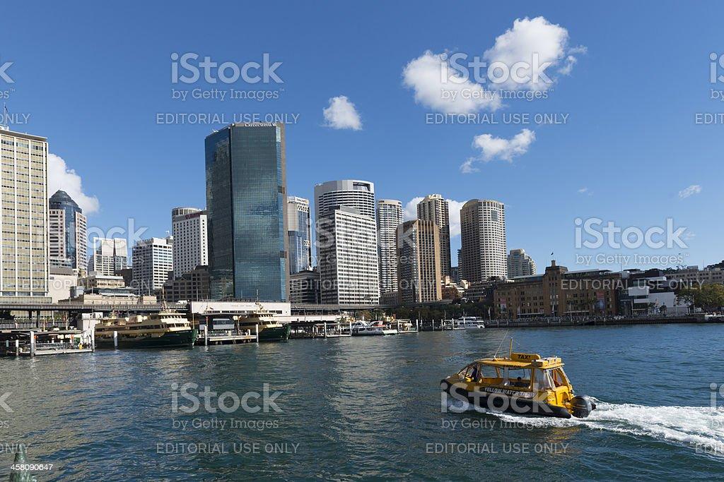Yellow Water Taxi heading into Sydney Circular Quay, Australia royalty-free stock photo