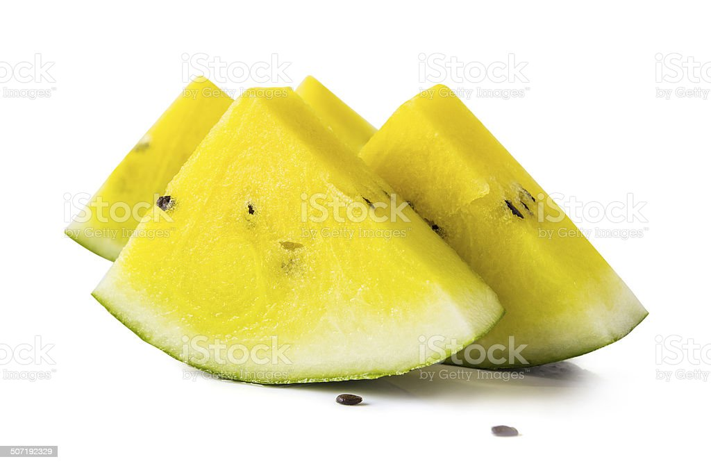 Yellow watermelon on white background with clipping path royalty-free stock photo
