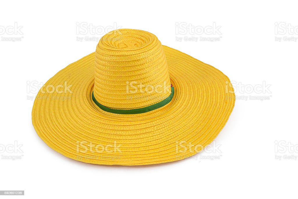 yellow weave plastic hat isolated on the white background stock photo