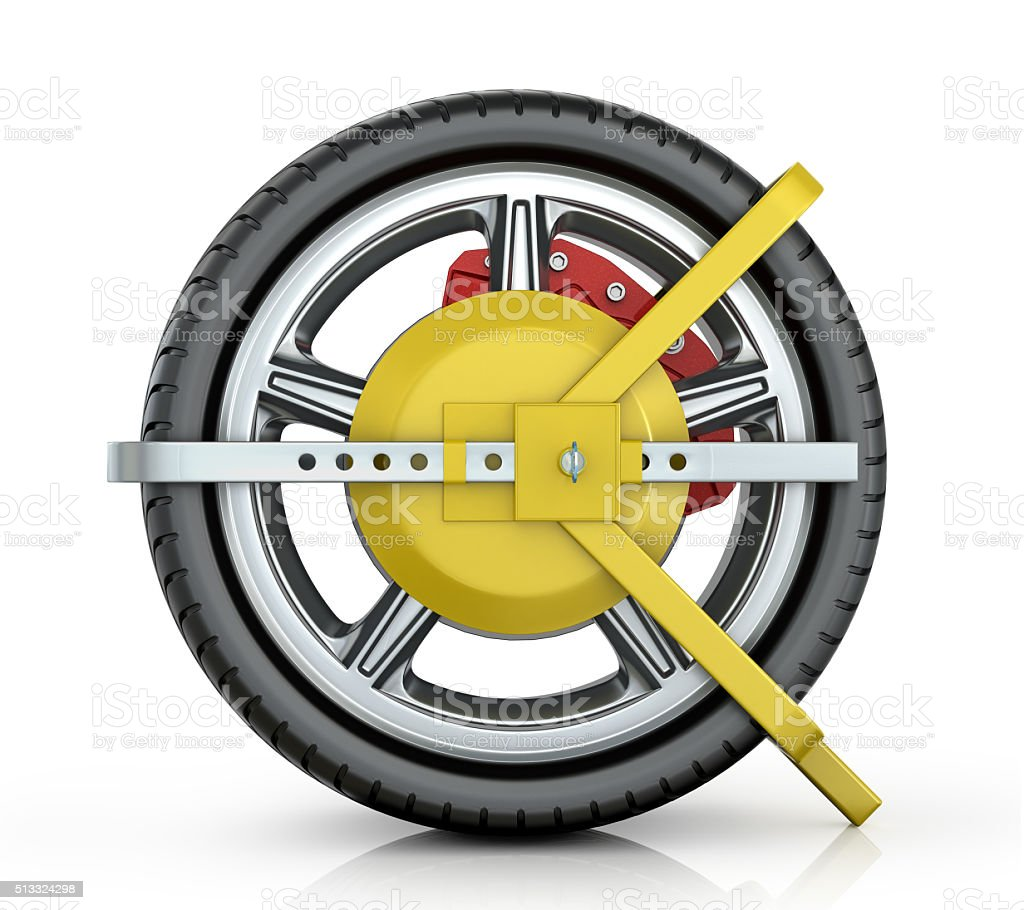 Yellow wheel clamp stock photo