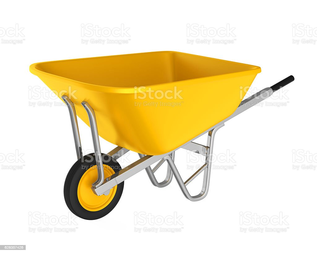 Yellow Wheelbarrow stock photo
