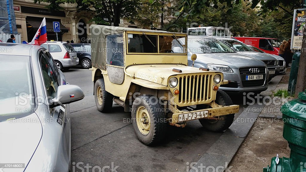 Yellow Willys CJ-2A in Prague stock photo