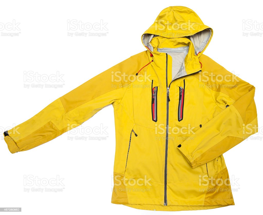 yellow windbreaker waterproof hoodie jacket full zip stock photo