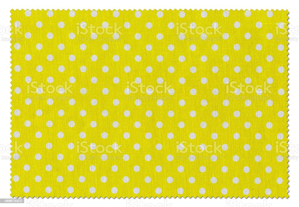 Yellow with White Dots Fabric Swatch stock photo