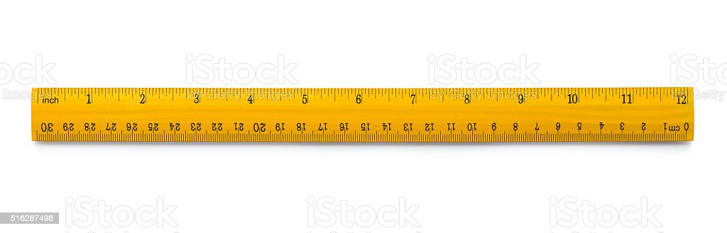 Yellow wooden ruler stock photo