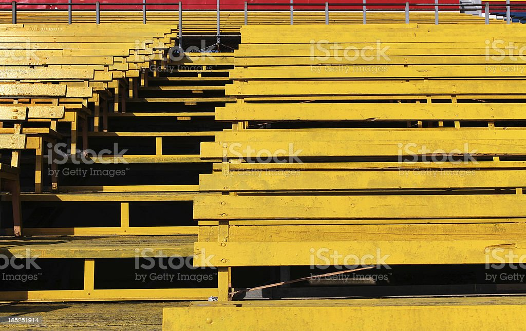 Yellow Wooden Sports Arena Bleachers royalty-free stock photo